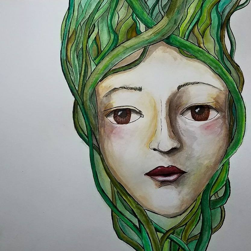 girl with vines for hair